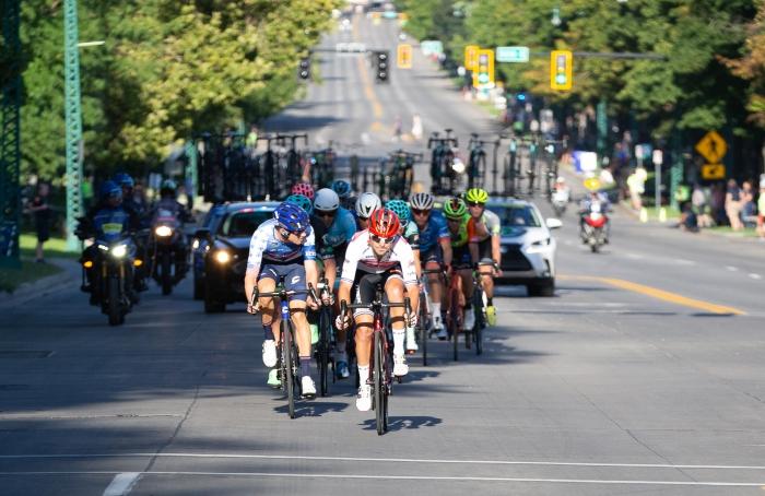 Trek Segafredo rider takes a pull on South Temple. Stage 4, 2019 Tour of Utah. Photo by Cathy Fegan-Kim