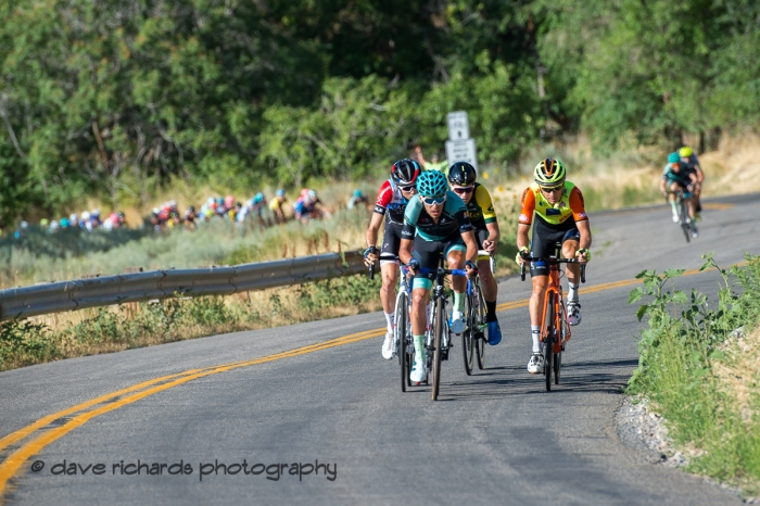Early brekaway on the first lap of Stage 4 - Salt Lake City Circuit Race, 2019 LHM Tour of Utah (Photo by Dave Richards, daverphoto.com)