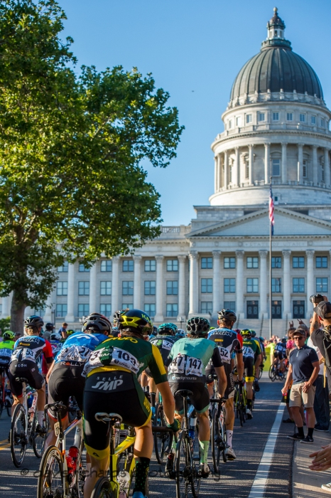 Riders top out on the State Street climb as they approach the Utah State Capitol building. Stage 4 - Salt Lake City Circuit Race, 2019 LHM Tour of Utah (Photo by Dave Richards, daverphoto.com)