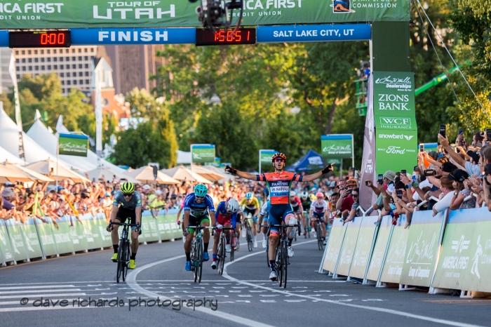 Marco Canola (NIPPO-Vini Fantini-FaizanèS) takes the sprint to win Stage 4 - Salt Lake City Circuit Race, 2019 LHM Tour of Utah (Photo by Dave Richards, daverphoto.com)