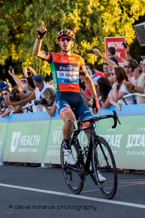 Marco Canola (NIPPO-Vini Fantini-Faizanè) wins Stage 4 - Salt Lake City Circuit Race, 2019 LHM Tour of Utah (Photo by Dave Richards, daverphoto.com)
