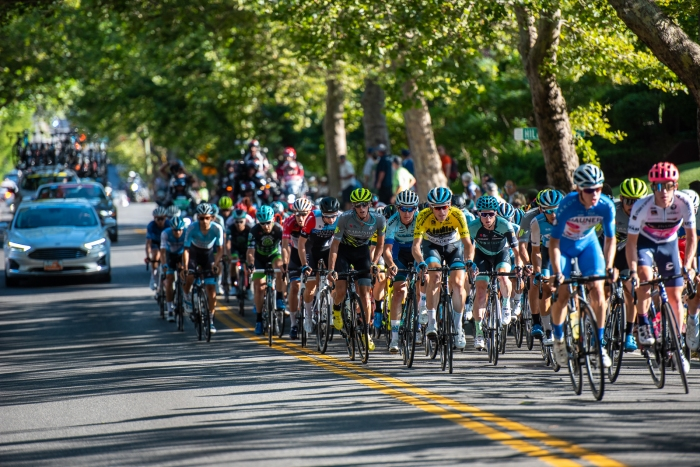 Utahn T.J. Eisenhart (Arapahoe-Hincapie p/b BMC) hanging close to race leader Ben Hermans (Israel Cycling Academy) early on Stage 4, 2019 Tour of Utah. Photo by Steven L. Sheffield