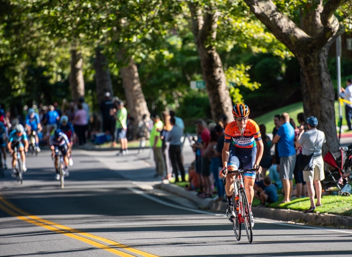 A NIPPO-Vini Fantini rider surges ahead on State Street to try to bridge to the break. Stage 4, 2019 Tour of Utah. Photo by Steven L. Sheffield