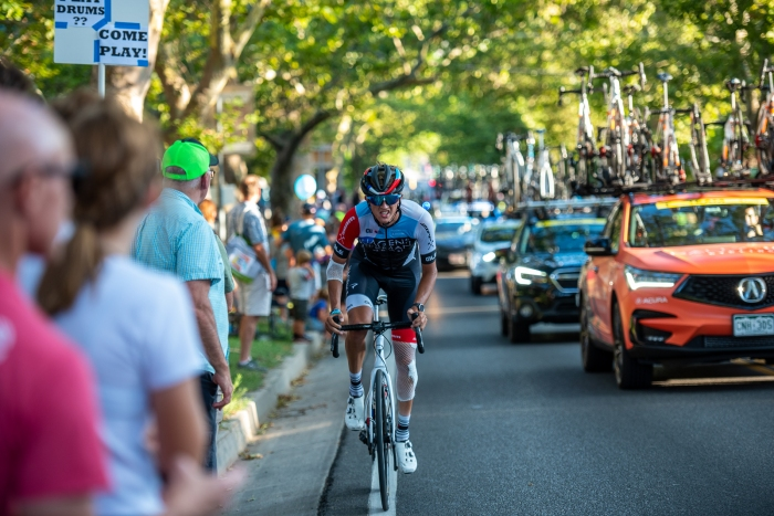 Thomas Revard (Hagens Berman-Axeon) grits it out on State Street after his Stage 3 crash. Stage 4, 2019 Tour of Utah. Photo by Steven L. Sheffield