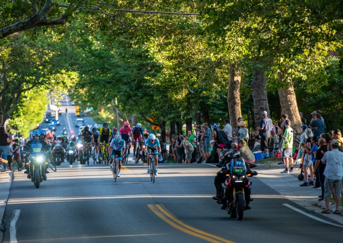 The eleven-strong breakaway coming up State Street. Stage 4, 2019 Tour of Utah. Photo by Steven L. Sheffield