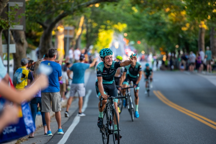A 303 Project rider thanks the crowd for their support on his last lap up State Street. Stage 4, 2019 Tour of Utah. Photo by Steven L. Sheffield