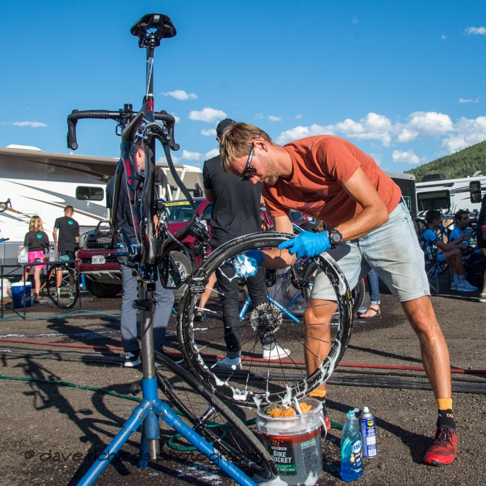After everyone has come and gone, the sounds and sights fade to silence, the team mechanics work continues to get the bikes ready for the next day's efforts. Stage 5 - Canyons Village Park City Mountain Resort, 2019 LHM Tour of Utah (Photo by Dave Richards, daverphoto.com)