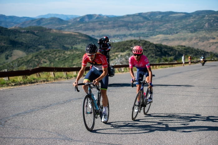 Hayden McCormick (Team BridgeLane) & Lachlan Morton (EF Education First) nearing the top of the final KOM at Olympic Park. Stage 5, 2019 Tour of Utah. Photo by Steven L. Sheffield
