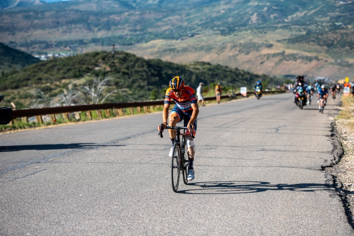 Marco Canola (NIPPO-Vini Fantini-Faizanè) just about to crest the KOM at Olympic Park. Stage 5, 2019 Tour of Utah. Photo by Steven L. Sheffield