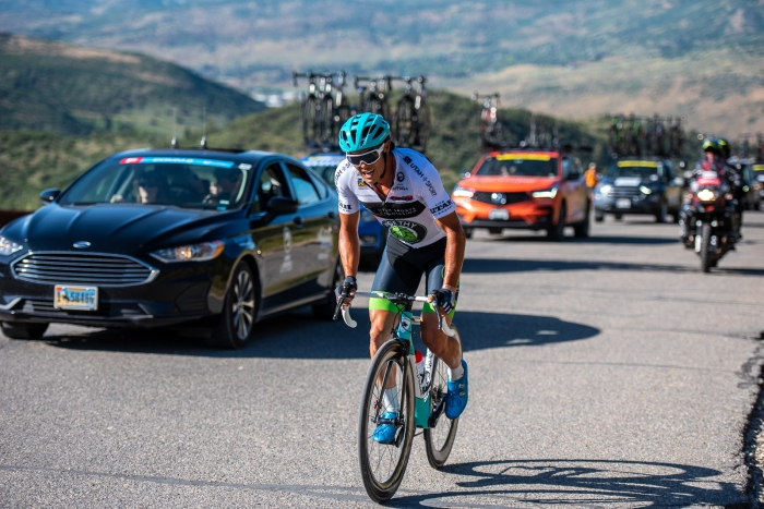Travis McCabe (Worthy Pro Cycling) at the top of Olympic Park. Stage 5, 2019 Tour of Utah. Photo by Steven L. Sheffield