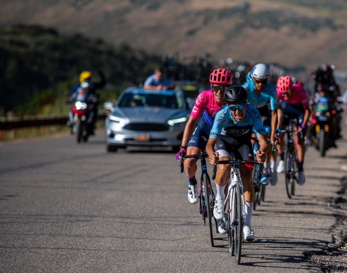 João Almeida (Hagens Berman-Axeon) leads a small group over the top of Olympic Park. Stage 5, 2019 Tour of Utah. Photo by Steven L. Sheffield