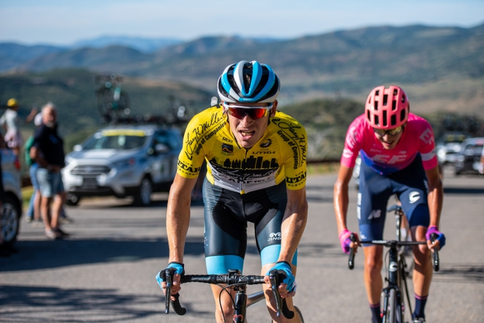 Ben Hermans (Israel Cycling Academy) leads Joe Dombrowski (EF Education First) over the top. Stage 5, 2019 Tour of Utah. Photo by Steven L. Sheffield