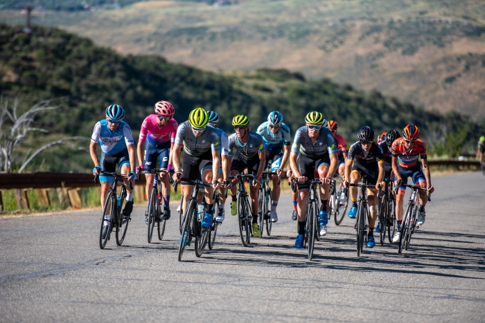 What's left of the peloton makes its way over the top of Olympic Park. Stage 5, 2019 Tour of Utah. Photo by Steven L. Sheffield