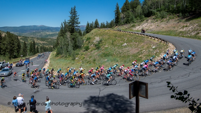 Riders hit a steep hairpin on the Wolf Creek Ranch climb. Stage 6, 2019 LHM Tour of Utah (Photo by Dave Richards, daverphoto.com)