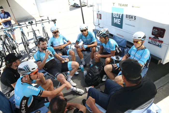 Elevate KHS team meeting before the final stage of the Tour of Utah with James Piccoli sitting in 2nd GC.
