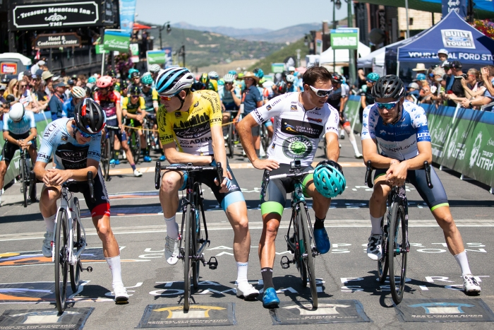 Jersey leaders chat at the start line of Stage 6 in Park City.