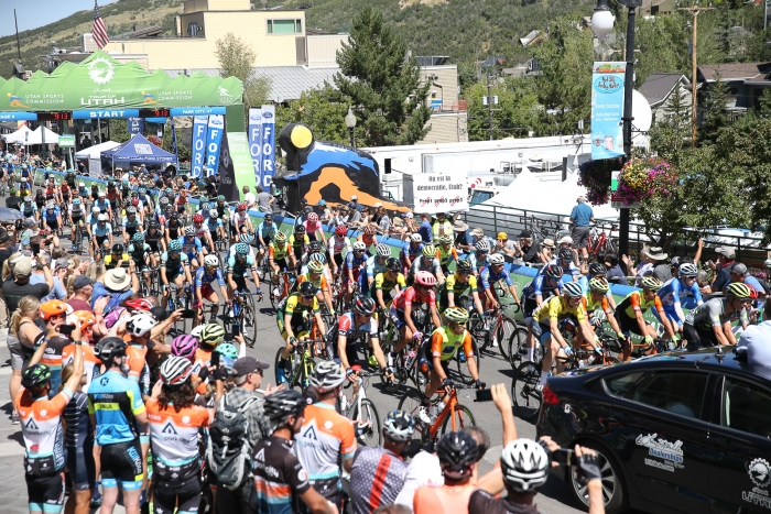 Fans of cycling an cyclists themselves rode out to watch the neutral parade laps at the start of Stage 6 in Park City.
