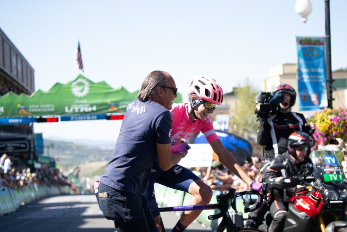 EF Education First swanny and Joe Dombrowski with huge smiles