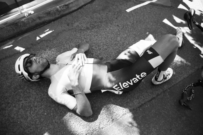 James Piccoli (2nd GC, Elevate KHS) collapses after an epic effort.