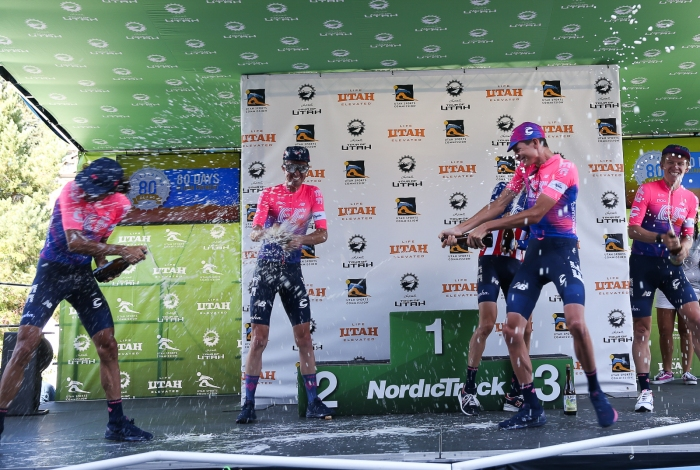 Beer showers for Team GC: EF Education First.