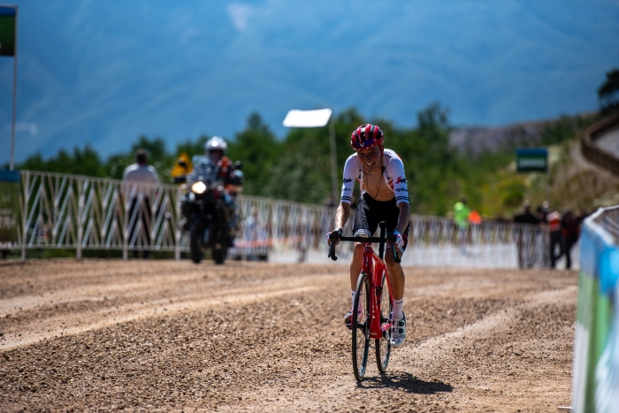 Niklas Eg (Trek Segafredo) finishes 3rd on Powder Mountain. Stage 2, 2019 Tour of Utah. Photo by Steven L. Sheffield