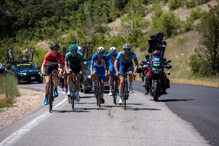 The early break on North Ogden Divide, Stage 2, 2019 Tour of Utah. Photo by Steven L. Sheffield