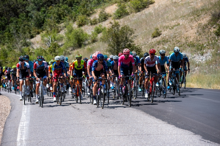 Led by EF Education first, the peloton nears the top of North Ogden Divide, Stage 2, 2019 Tour of Utah. Photo by Steven L. Sheffield