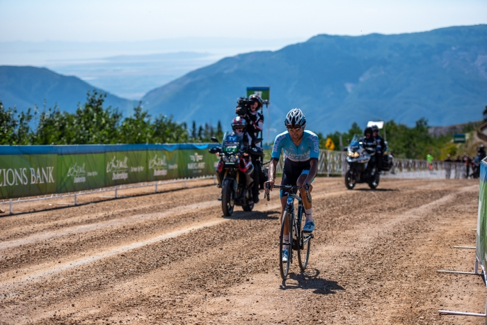 James Piccoli (Elevate KHS) shows his strength at altitude, finishing second at Powder Mountain. Stage 2, 2019 Tour of Utah. Photo by Steven L. Sheffield