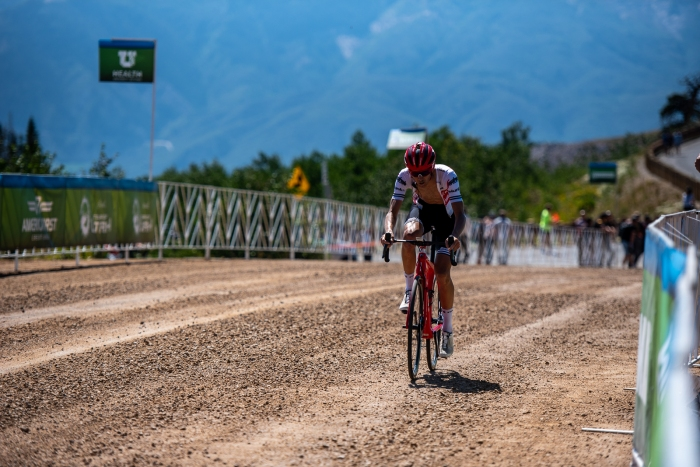 Peter Stetina attacked early on the climb to Powder Mountain, but faded back to finish 4th. Stage 2, 2019 Tour of Utah. Photo by Steven L. Sheffield