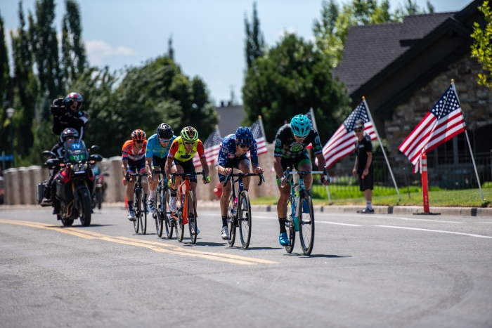 With 3 laps to go on the finishing circuit, the breakaway nears the top of Eagle Ridge to drop to the finish. Stage 3, 2019 Tour of Utah. Photo by Steven L. Sheffield