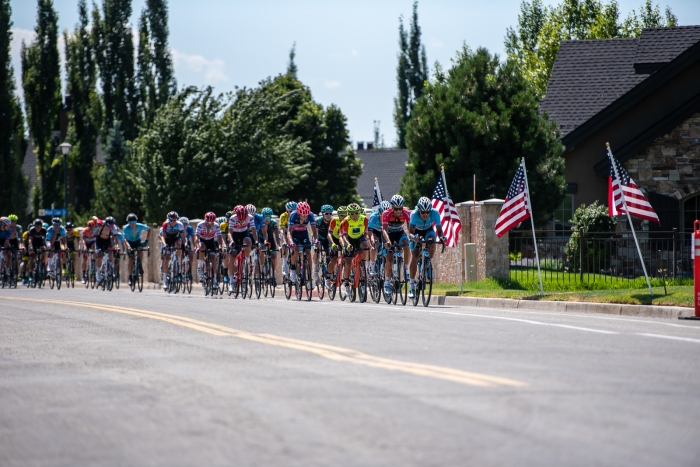 Elevate KHS leads the chase with 3 laps to go. Stage 3, 2019 Tour of Utah. Photo by Steven L. Sheffield