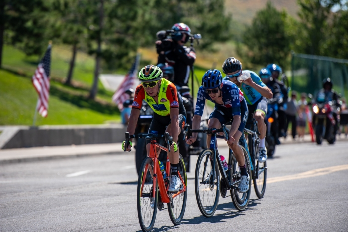With 2 laps to go, the break is down to Lorenzo Fortunato (Neri Sottoli-Selle Italia-KTM), Alex Howes (EF Education First), and Hayden McCormick (Team Bridgelane). Stage 3, 2019 Tour of Utah. Photo by Steven L. Sheffield
