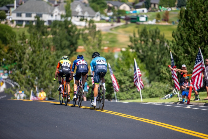 With 2 laps to go, the remnants of the break begin the drop to the finish line. Stage 3, 2019 Tour of Utah. Photo by Steven L. Sheffield
