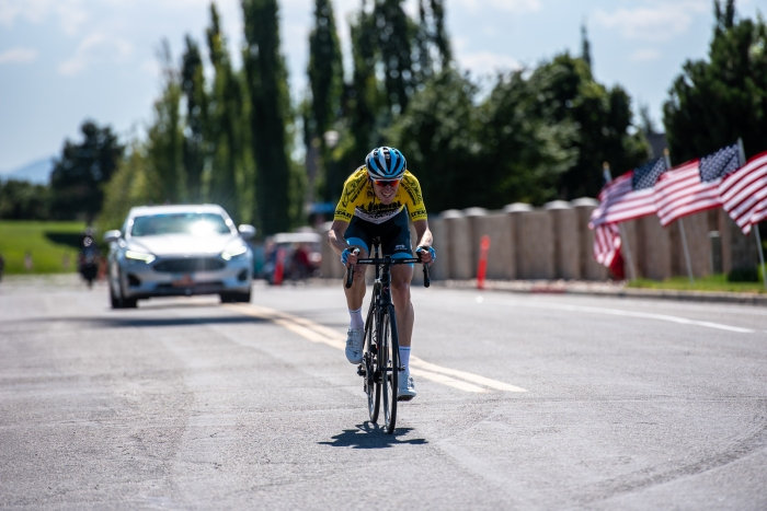 Ben Hermans (Israel Cycling Academy) attacks on the final climb of Eagle Ridge to take his second consecutive stage win. Stage 3, 2019 Tour of Utah. Photo by Steven L. Sheffield