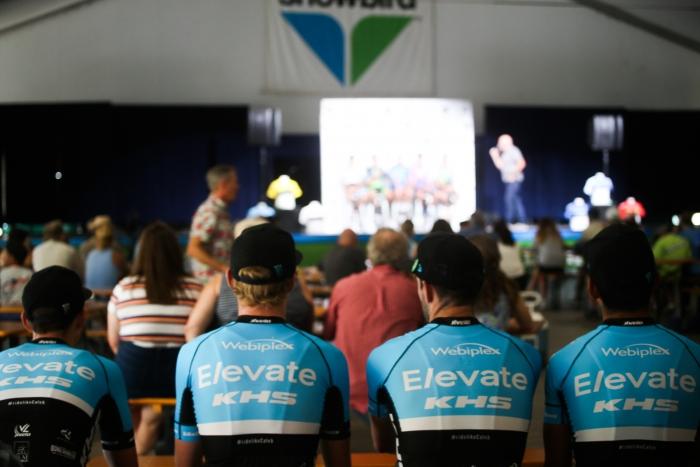 Riders watching the Rider Panel at Team Presentation.