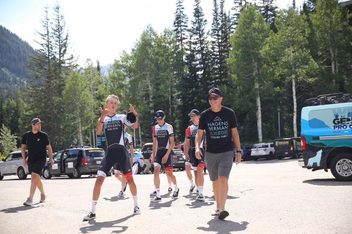 Jeff Louder and his Hagens Berman-Axeon (USA) riders arrive at 2019 ToU Team Presentation held at Snowbird.