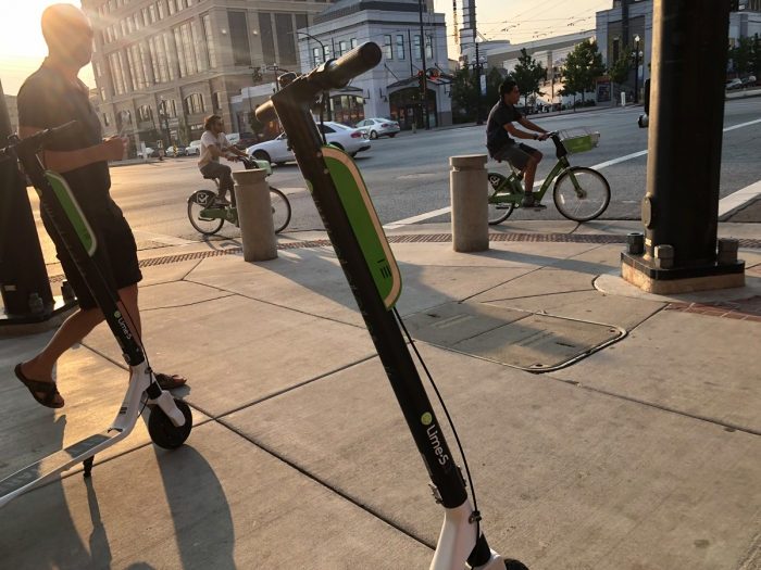 Lime Scooters and GreenBike Bike Share. E-Scooters and bikes in Salt Lake City, Utah. Photo by Dave Iltis