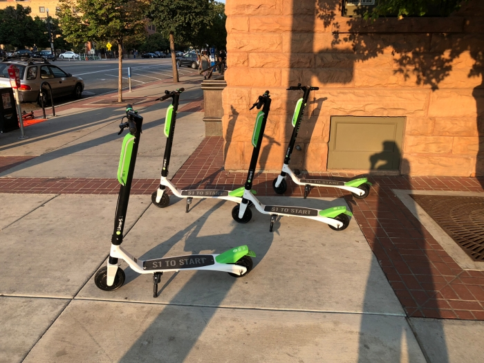 Lime Scooters by the Gateway. E-Scooters and bikes in Salt Lake City, Utah. Photo by Dave Iltis
