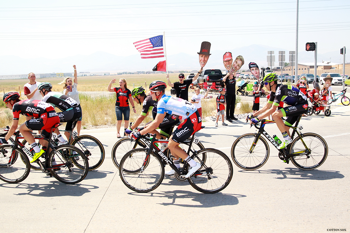 TJ Eisenhart and his fan club! Stage 4 of the 2016 Tour of Utah. Photo: Catherine Fegan-Kim, cottonsoxphotography.com