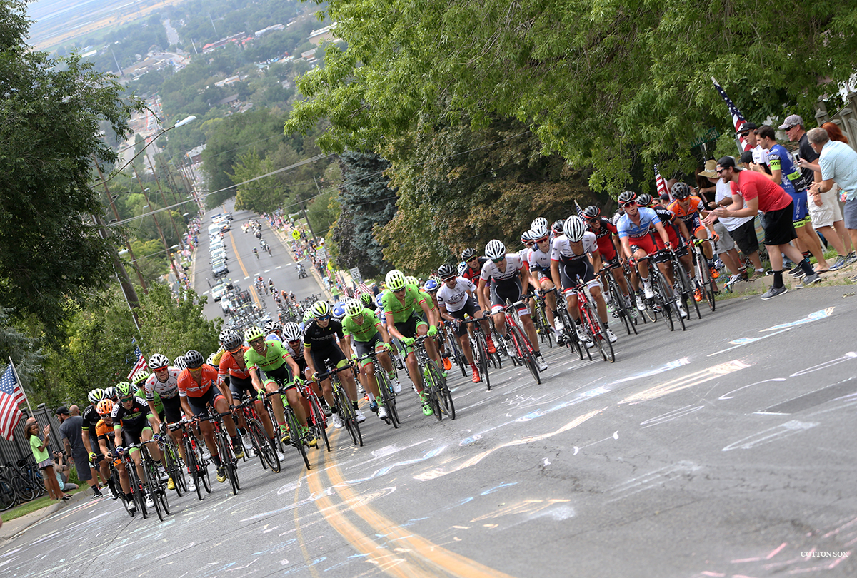 The peloton spread out across the road. Stage 5 of the 2016 Tour of Utah. Photo by Cathy Fegan-Kim, cottonsoxphotography.com