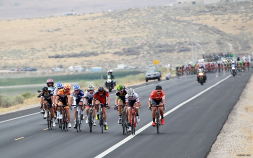 The break gets started on the Antelope Island Causeway. Stage 5 of the 2016 Tour of Utah. Photo by Cathy Fegan-Kim, cottonsoxphotography.com