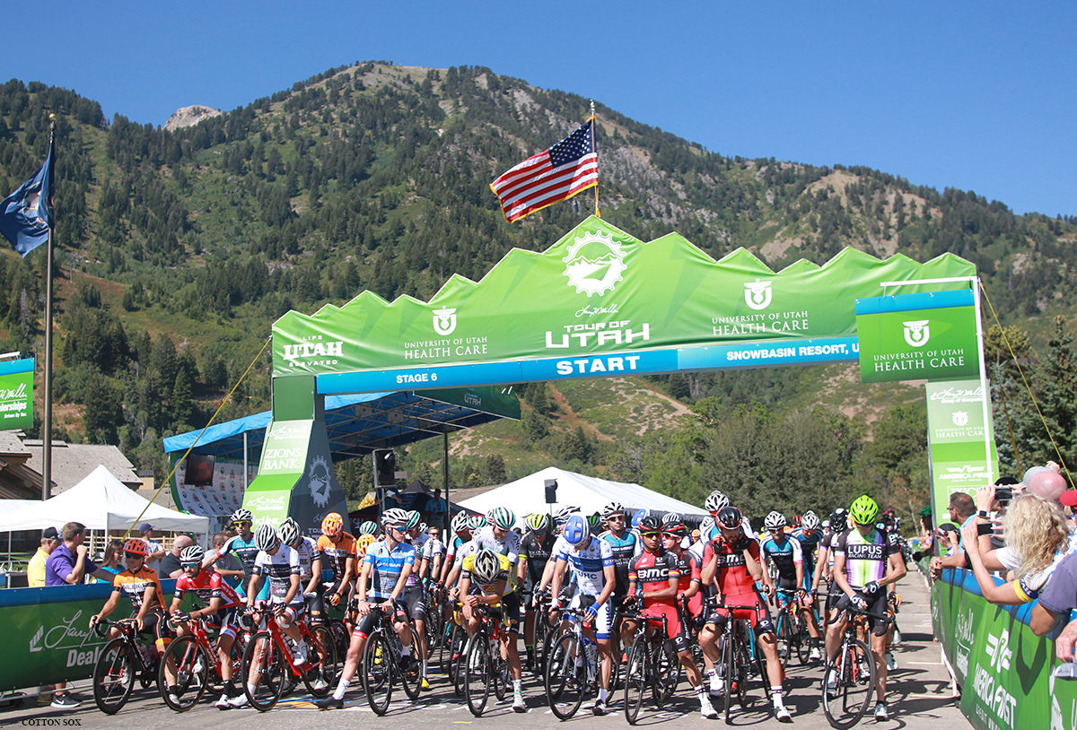 Snowbasin at the start of Stage 6 of the 2016 Tour of Utah, photo by Cathy Fegan-Kim, cottonsoxphotography.com