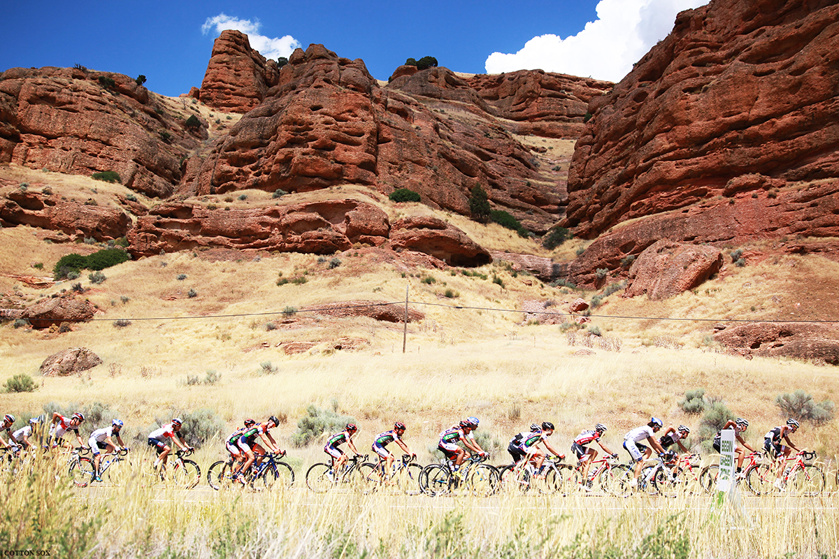 Red rocks in Northern Utah? You bet. Stage 6 of the 2016 Tour of Utah, photo by Cathy Fegan-Kim, cottonsoxphotography.com