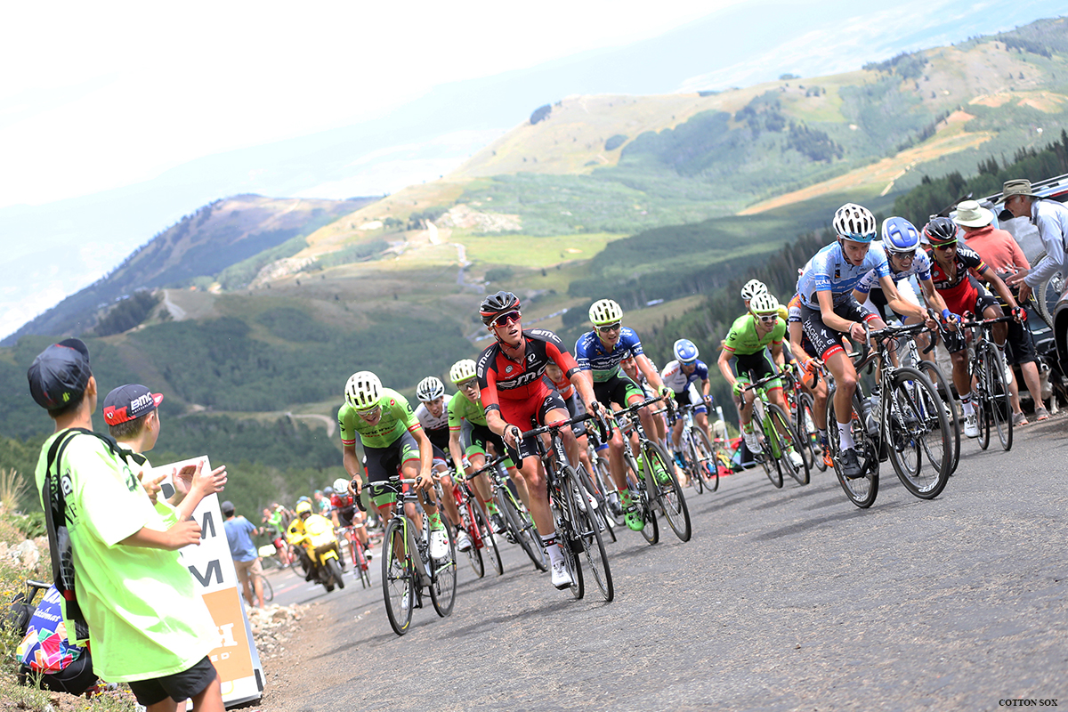 The GC leaders with TJ Eisenhart and Adrien Costa at the top of Guardsman in Stage 6 of the 2016 Tour of Utah, photo by Cathy Fegan-Kim, cottonsoxphotography.com