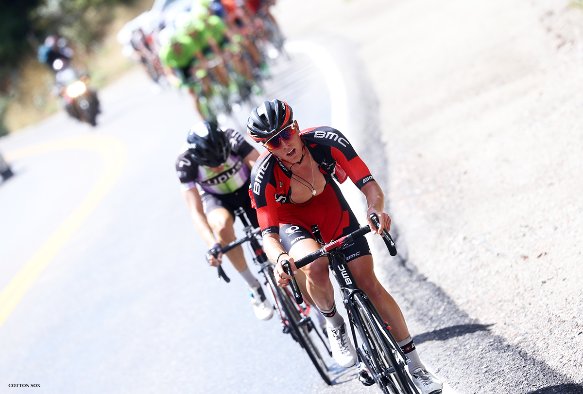 TJ Eisenhart attacks in Little Cottonwood Canyon in Stage 6 of the 2016 Tour of Utah, photo by Cathy Fegan-Kim, cottonsoxphotography.com
