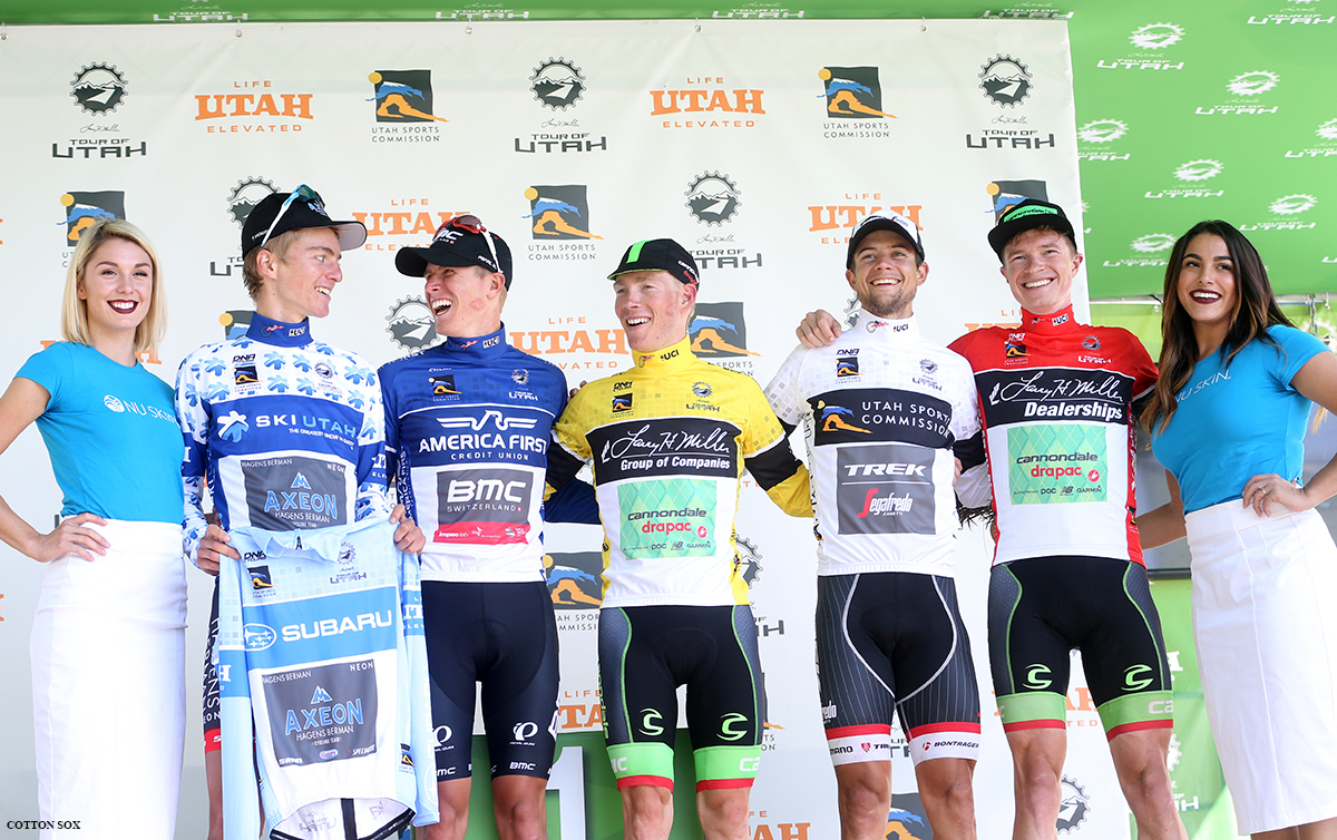 The jerseys in Stage 6 of the 2016 Tour of Utah, photo by Cathy Fegan-Kim, cottonsoxphotography.com