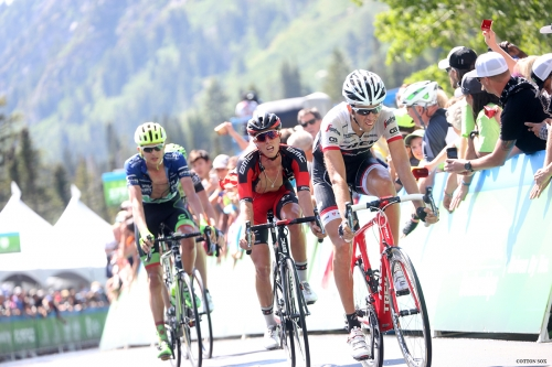 TJ Eisenhart (middle) finishes Stage 6 of the 2016 Tour of Utah, photo by Cathy Fegan-Kim, cottonsoxphotography.com