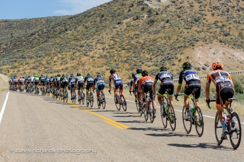 The peloton stretches out as they approach the climb up to Henefer, Utah. Stage 6, 2016 Tour of Utah. Photo by Dave Richards, daverphoto.com