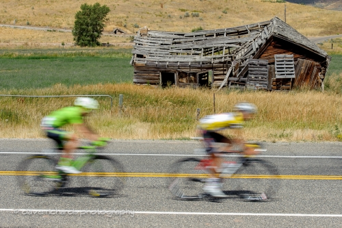 Yellow jersey/falling down barn. Stage 6, 2016 Tour of Utah. Photo by Dave Richards, daverphoto.com