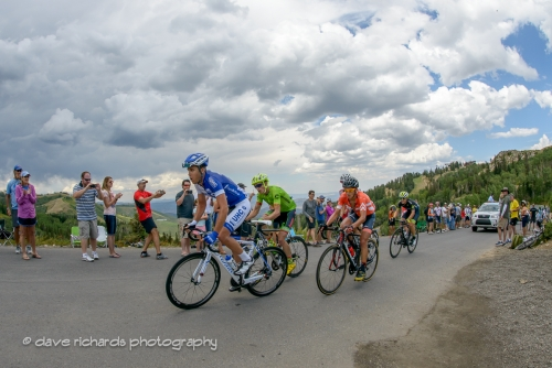 Storm clouds threathen rain as the leaders pass over the Guardsman's summit. Stage 6, 2016 Tour of Utah. Photo by Dave Richards, daverphoto.com